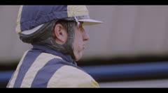 JOCKEY ON HORSE - HARNESS RACING #2 Stock Footage