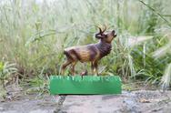 Stock Photo of A plastic deer figurine on a garden path
