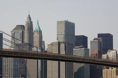 Manhattanin horisonttiin ja Brooklyn Bridge Kuvituskuvat