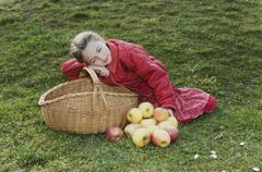 A young girl with a basket and apples Stock Photos