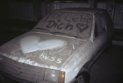 I love you written on a dusty car Stock Photos