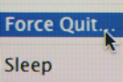 Force Quit and Sleep options on a computer screen Stock Photos