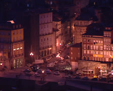 City of Porto at night. High angle shot street corner at Ribeira quarter. Stock Footage