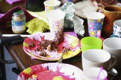 Aftermath of a child's birthday party Stock Photos