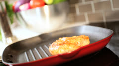 Healthy Lifestyle Low Fat Chicken Cooking Close Up Stock Footage