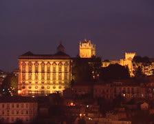 Skyline Episcopal Palace of Porto + cathedral by night Stock Footage