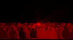Cheering crowd,dance people & dazzling red music rays light at concert. Stock Footage