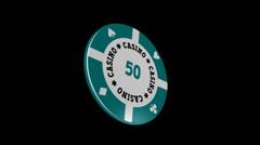 Casino Chip - $ 50 - Particle Loop + Alpha kanava - 30 fps Arkistovideo