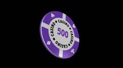 Casino Chip - $ 500 - Particle Loop + Alpha kanava - 30 fps Arkistovideo