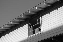 Black & White - Abandoned School - 2nd Story Window Stock Photos
