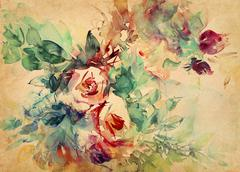 Watercolor roses painted on paper Stock Illustration