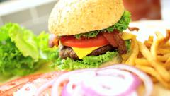 Tempting Fresh Classic Burger and Fries Meal Stock Footage