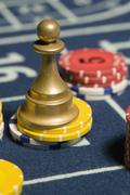 Roulette Win Marker placed on gambling chips Stock Photos