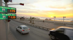 Board walk Tel Aviv Pan Right to Left Day3 Stock Footage