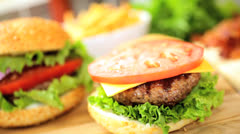 Hands Preparing Tasty Meal Fresh Beef Burger Salad Close Up Stock Footage