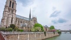 Notre Dame de Paris from bridge hyperlapse Stock Footage