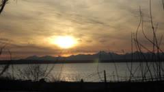 Sun Setting On Mountain Range Calm Peaceful Stock Footage