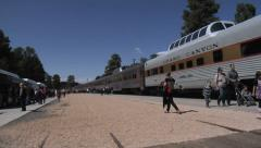 Grand Canyon Railway Trains Arriving 2 Stock Footage