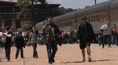 Visitors Arrive To Grand Canyon By Train Stock Footage