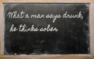 Expression -  what a man says drunk, he thinks sober - written on a school bl Stock Illustration