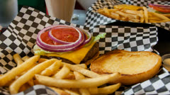 Burger And Fries Zoom In Stock Footage