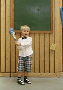 A boy on his first day at school Stock Photos