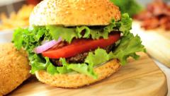 Bread Bun Filled Minced Beef Topped Fresh Salad Vegetables - stock footage