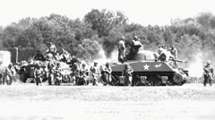 Tank Battle 02 grainy Stock Footage