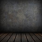 Old wood floor and black concrete wall. Stock Illustration