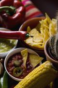 Stereotypical Mexican food and ingredients Stock Photos