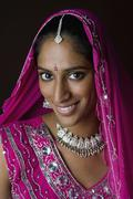 A woman dressed in traditional Indian clothing - stock photo