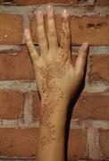 A henna tattoo on a woman's hand and arm Stock Photos