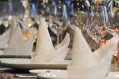 An elegantly set dining table, close up Stock Photos