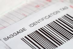 Close up of a baggage identification tag Stock Photos