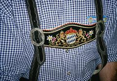 Midsection of a man wearing Lederhosen, German Club, Melbourne, Victoria, - stock photo