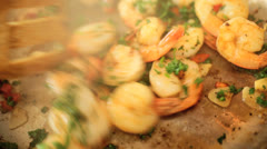 Preparing Family Meal Freshly Cooked Prawns Stock Footage