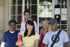 University students on campus Stock Photos