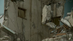 Collapsed building, fast zoom Stock Footage