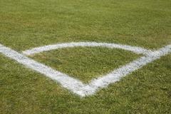 Corner marking on a soccer field Stock Photos