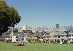 People lying on the grass, San Francisco, USA Stock Photos