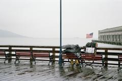 A person sitting on a bench in the rain, overlooking San Francisco Bay, USA Stock Photos
