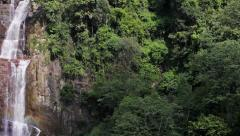 Panorama of tropical rainforest with waterfall Stock Footage