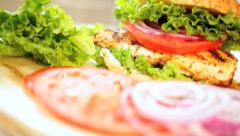 Healthy Sandwich Cooked Chicken Breast Topped Fresh Salad Vegetables Stock Footage