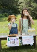Two girls with a lemonade stand - stock photo