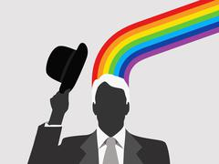A man with a rainbow emerging from this head - stock illustration