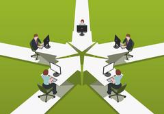 Office workers sitting at desks Stock Illustration