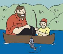 A father and son fishing in a canoe Stock Illustration