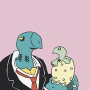 A turtle in a suit and tie holding a newly hatched turtle Stock Illustration