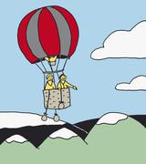 Two People in a hot air balloon Stock Illustration