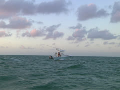 Boat trolling in the Gulf Mexico Stock Footage